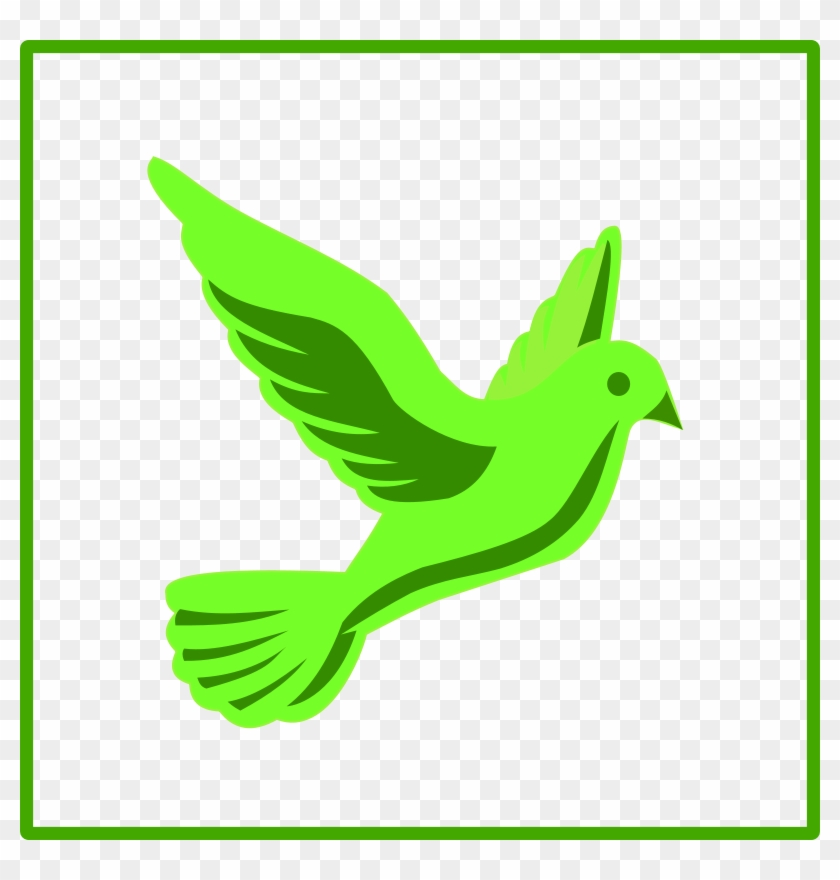 Flying Dove Holding An Olive Branch As A Sign Of Peace - Green Dove Icon #1224530