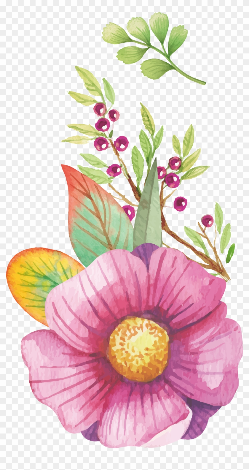 Watercolour Flowers Watercolor Painting Clip Art Watercolor Floral