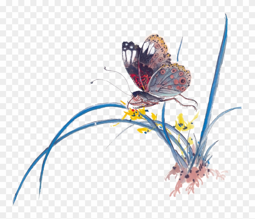 Insect Butterfly Ink Wash Painting Chinese Painting - Blue Butterfly Chinese Brush Painting #1225868