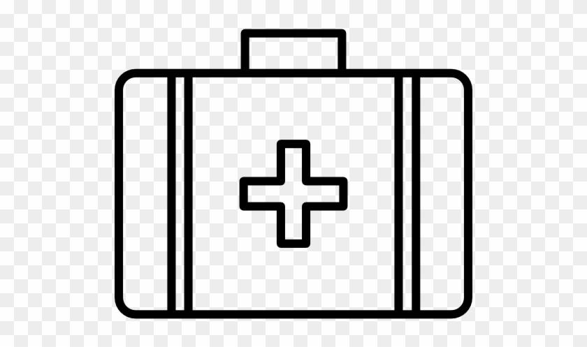 Medical - First Aid Kit Clipart Black And White #197378