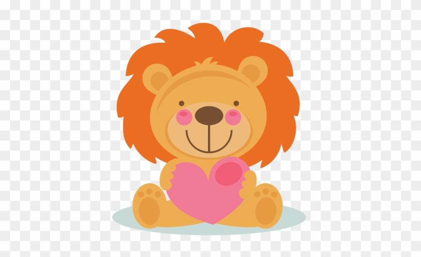 Cute Valentine Lion Scrapbook Cuts Svg Cutting Files - Cute Valentines Day Cartoon Animals #198708