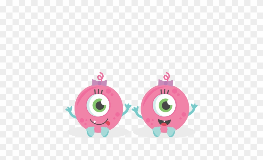 Twin Baby Girl Monsters Svg Scrapbook Cut File Cute - Cute Baby Girl Monsters #199030