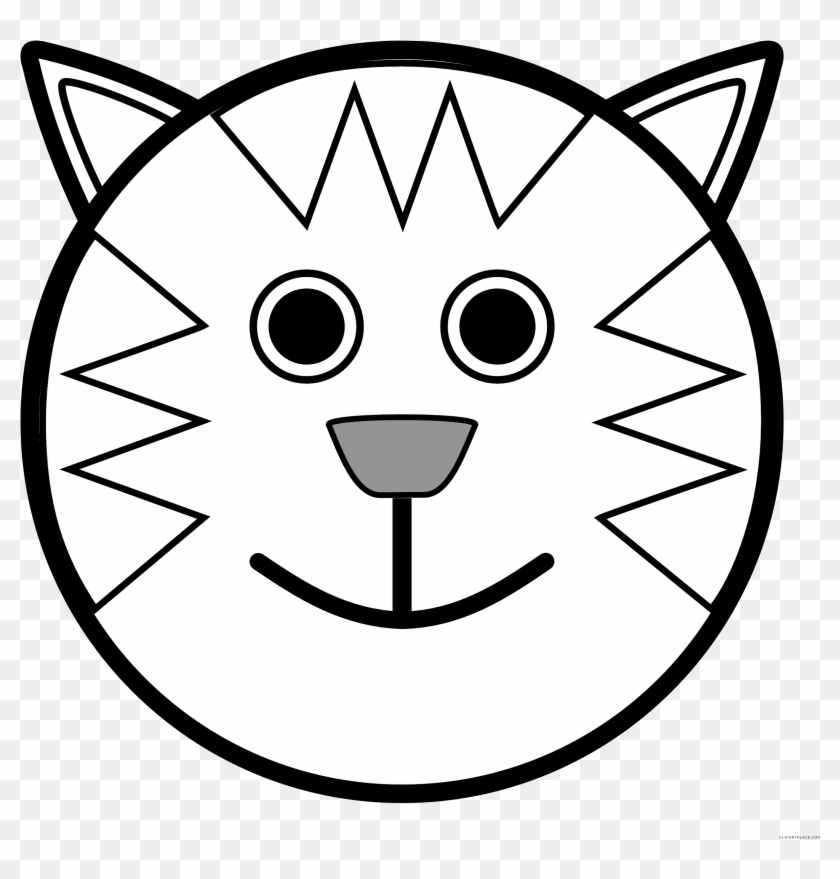 Teddy Bear Black And White Animal Clip Art Middot Bear - Cat Face Coloring Pages #200118