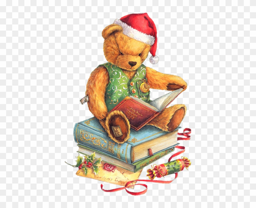 Christmas Teddy Bear With Santa Hat And Books Png Clipart - Christmas Children Reading Clip Art #200238