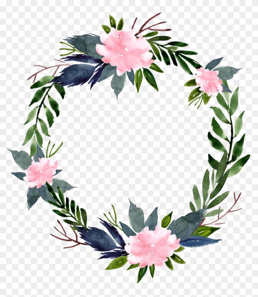 Flower Wreath Clip Art - Round Flower Frame Png #1228344