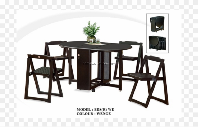 Butterfly Wooden Foldable Dining Table And 4 Folding - Dining Room #1229107