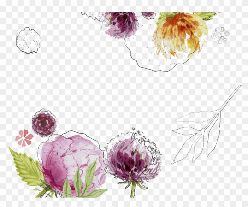 Wedding Invitation Watercolour Flowers Watercolor Painting - Watercolor Flowers Vector #1229773