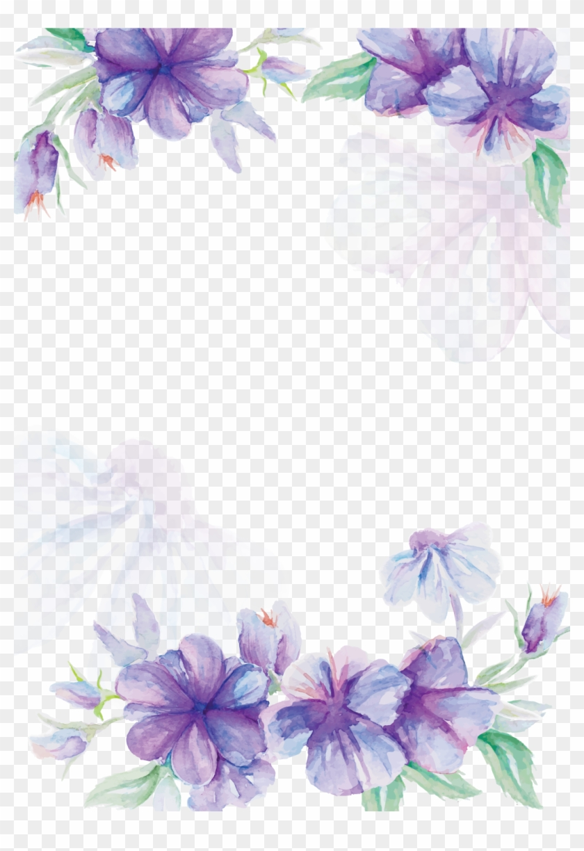 Wedding Invitation Flower Watercolor Painting Purple - Purple And Blue Flowers Png #1229806