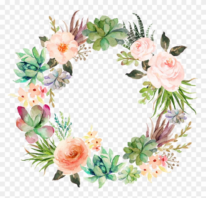 Wedding Invitation Paper Watercolor Painting Wreath - Watercolor Succulents With Flowers #1229844