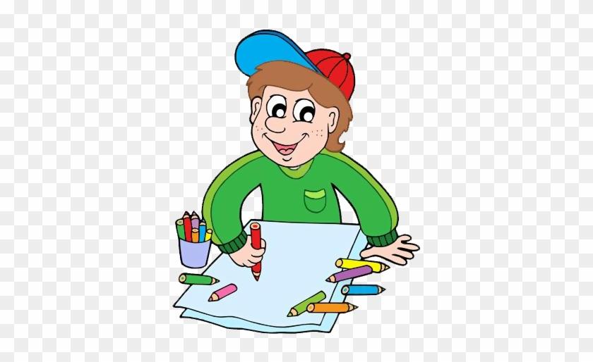 Gify Nena - Škola Str - - Boy With Crayons Clipart #1229880