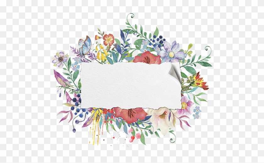Hand Painted Watercolor Floral Frame Material 600*600 - Watercolor Floral Frame #1229909