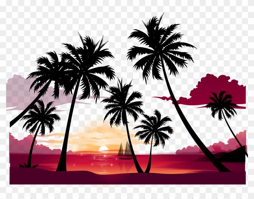 Display Resolution Summer Wallpaper - Sunset Beach Wall Mural - Palm Tree #1231204