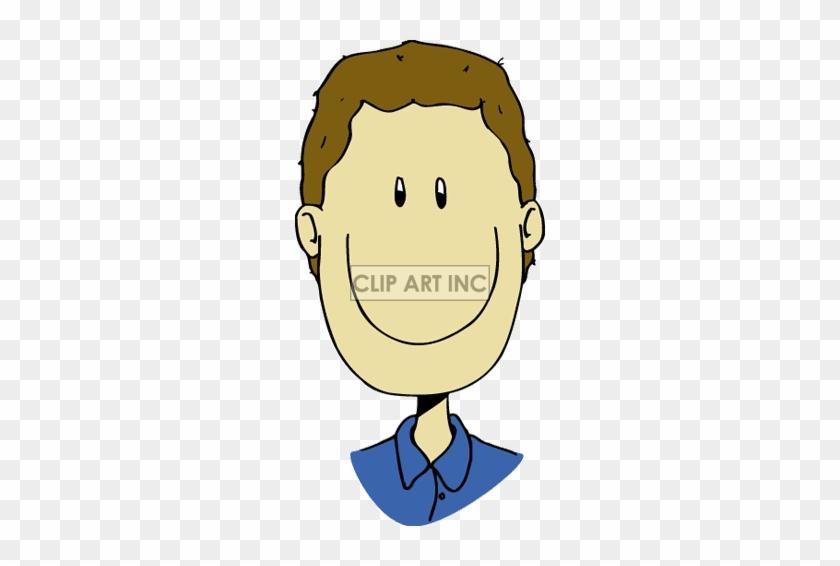Boy Clipart Brown Hair - Cartoon Man Face Smiling #1232539