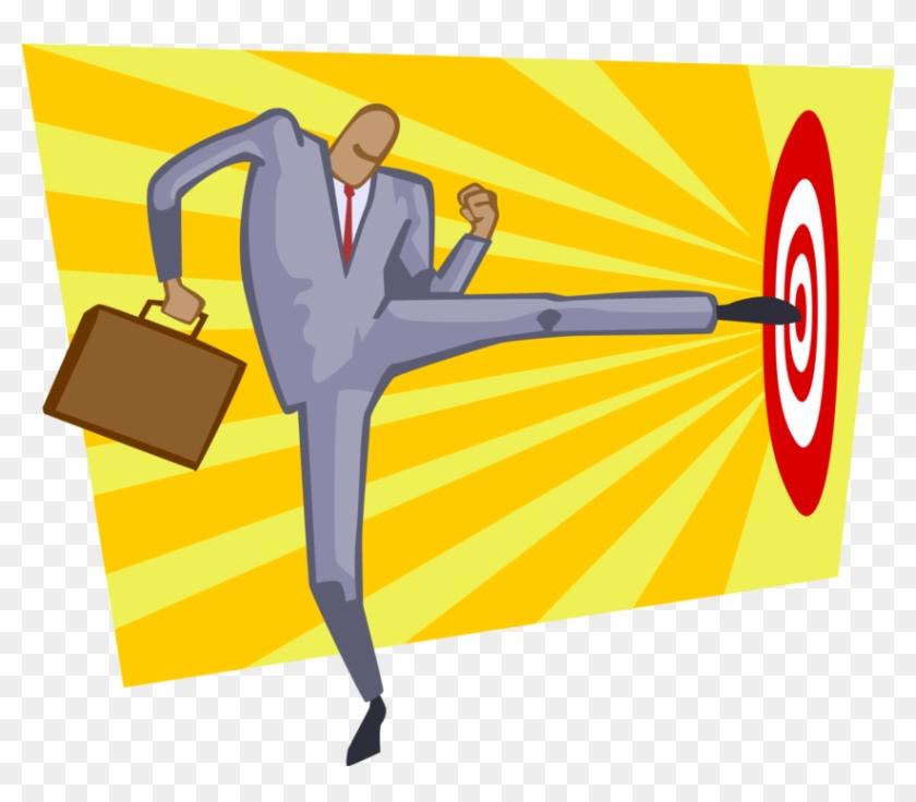 Vector Illustration Of Hitting The Target Bullseye - Illustration #1232654