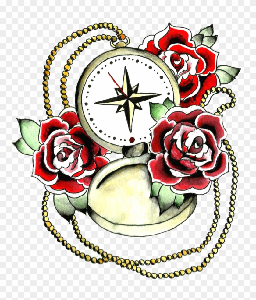 Download Rose Tattoo Transparent - Compass And Rose Tattoo Designs #1237983