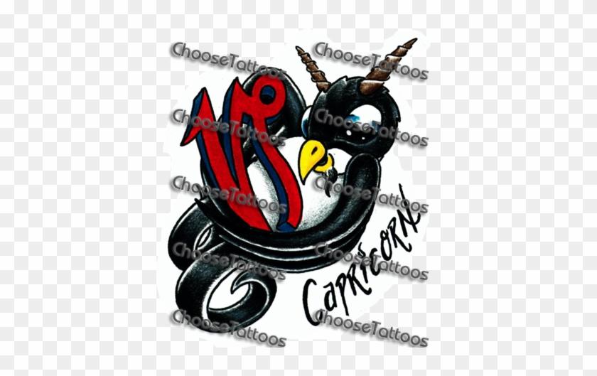 Latest Red Ink Capricorn Tattoo Design Illustration Free