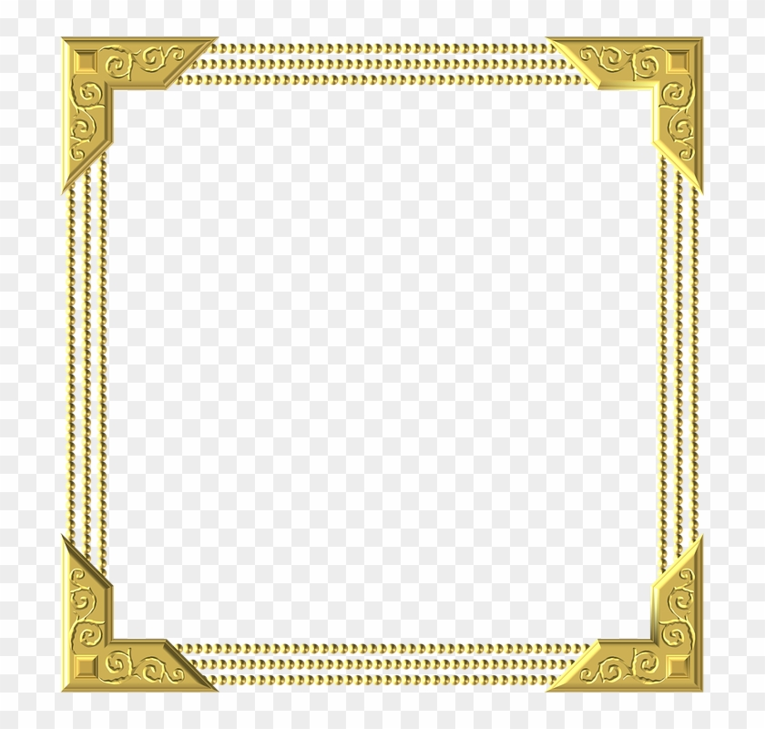 Gold, Frame, Square, Border, Decoration, Decor - Png Colour Border Hd #1241717