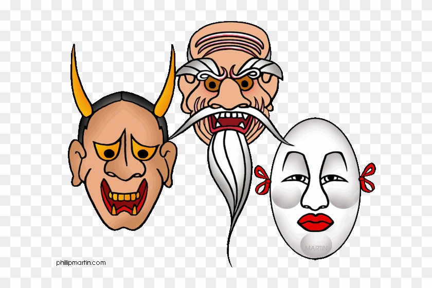 Japanese Theater Masks - Japanese Mask Clip Art Png #1242849
