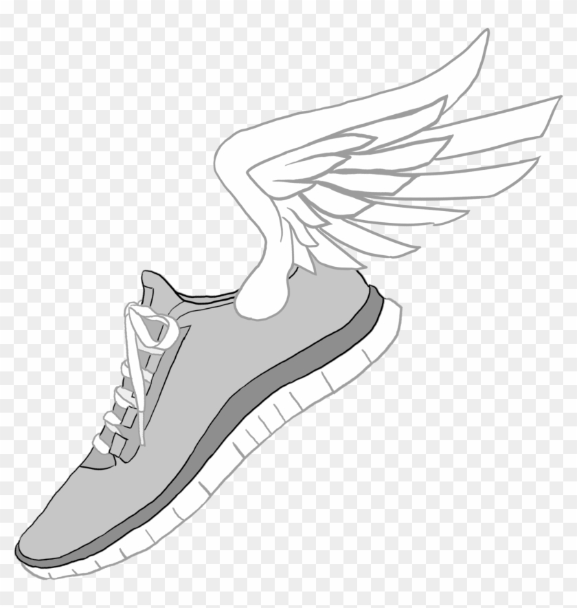 Nike Clipart Transparent - Cartoon Running Shoes With Wings #1244286