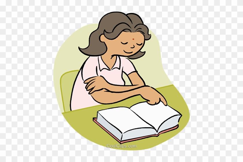 Little Girl Reading A Book Royalty Free Vector Clip - Woman Reading A Book Cartoon #1245542