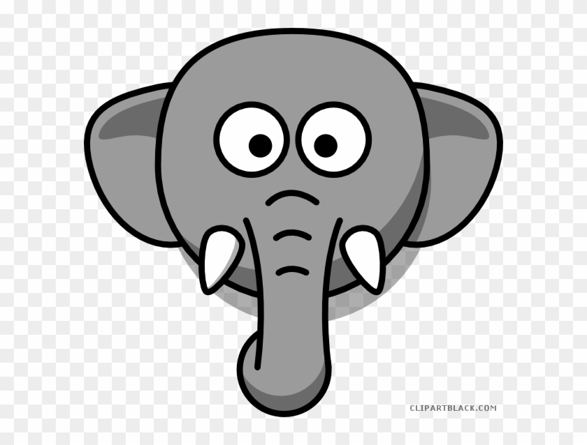 Elephant Head Animal Free Black White Clipart Images - Draw A Elephant Face Easy #1246353
