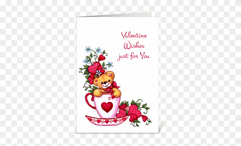 Teddy Bear Tea Cup Valentine S Day Card Greeting Card Happy