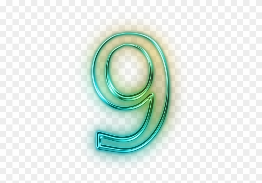 Vector Number 9 Drawing Image - Glowing Green Neon Icon Alphanumeric Number 4 #1250952