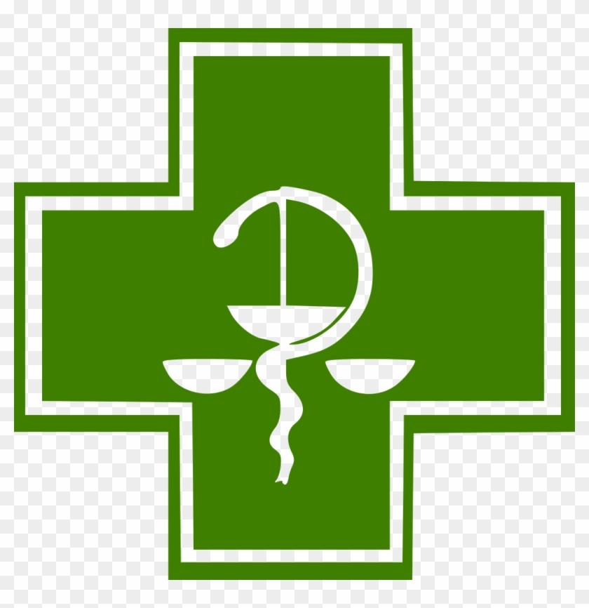 Green Pharmacy Cross W Bowl Of Hygieia - Green Cross Symbol For Pharmacy #1252578