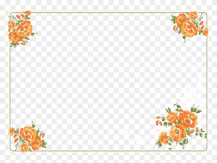 Vector Watercolor Flowers Border 811*552 Transprent - Orange Flower Border Png #1253125