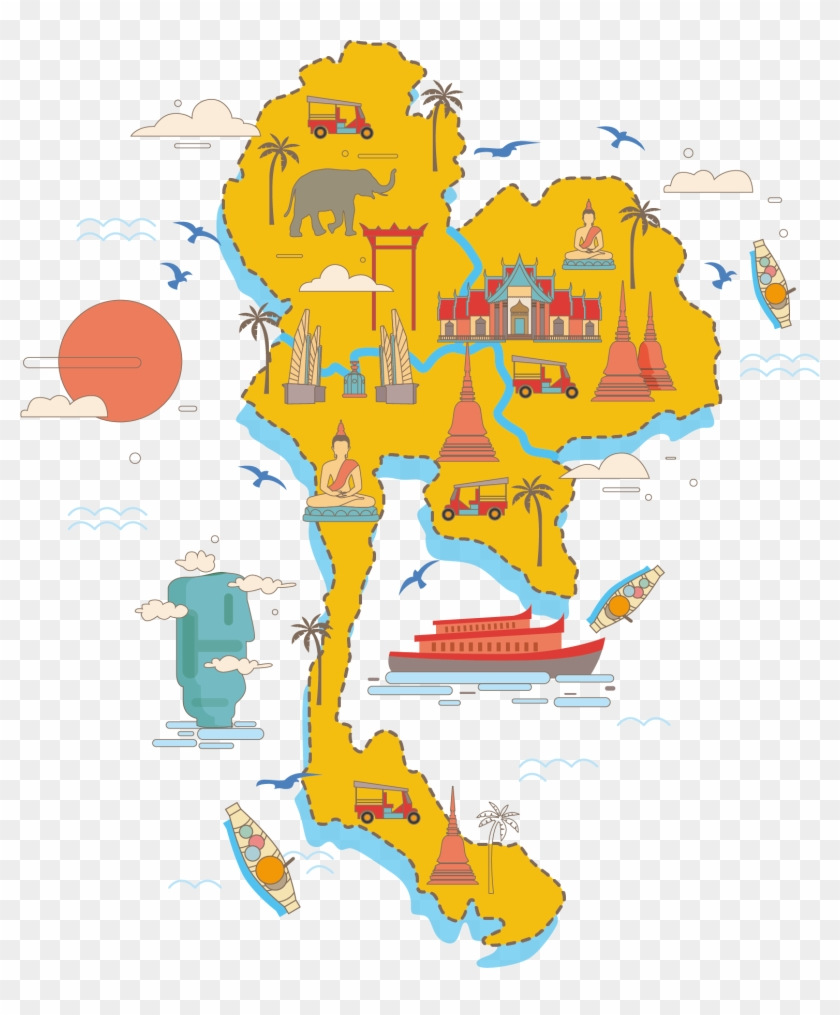 Thailand Vector Map Poster - Travel Thailand Png - Free Transparent ...
