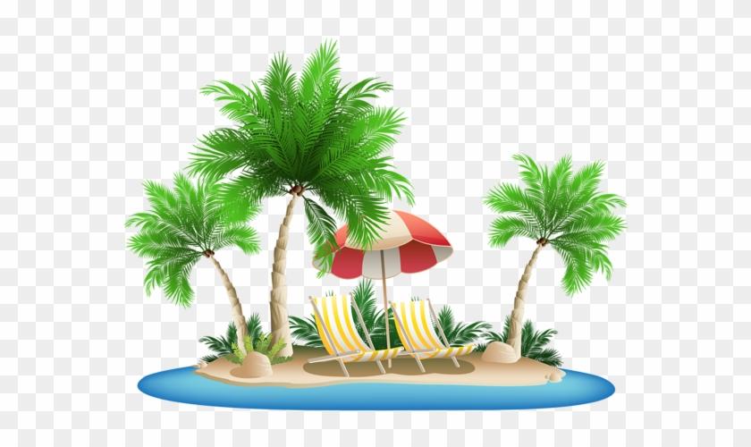 Palm Tree Beach Clipart #1259012