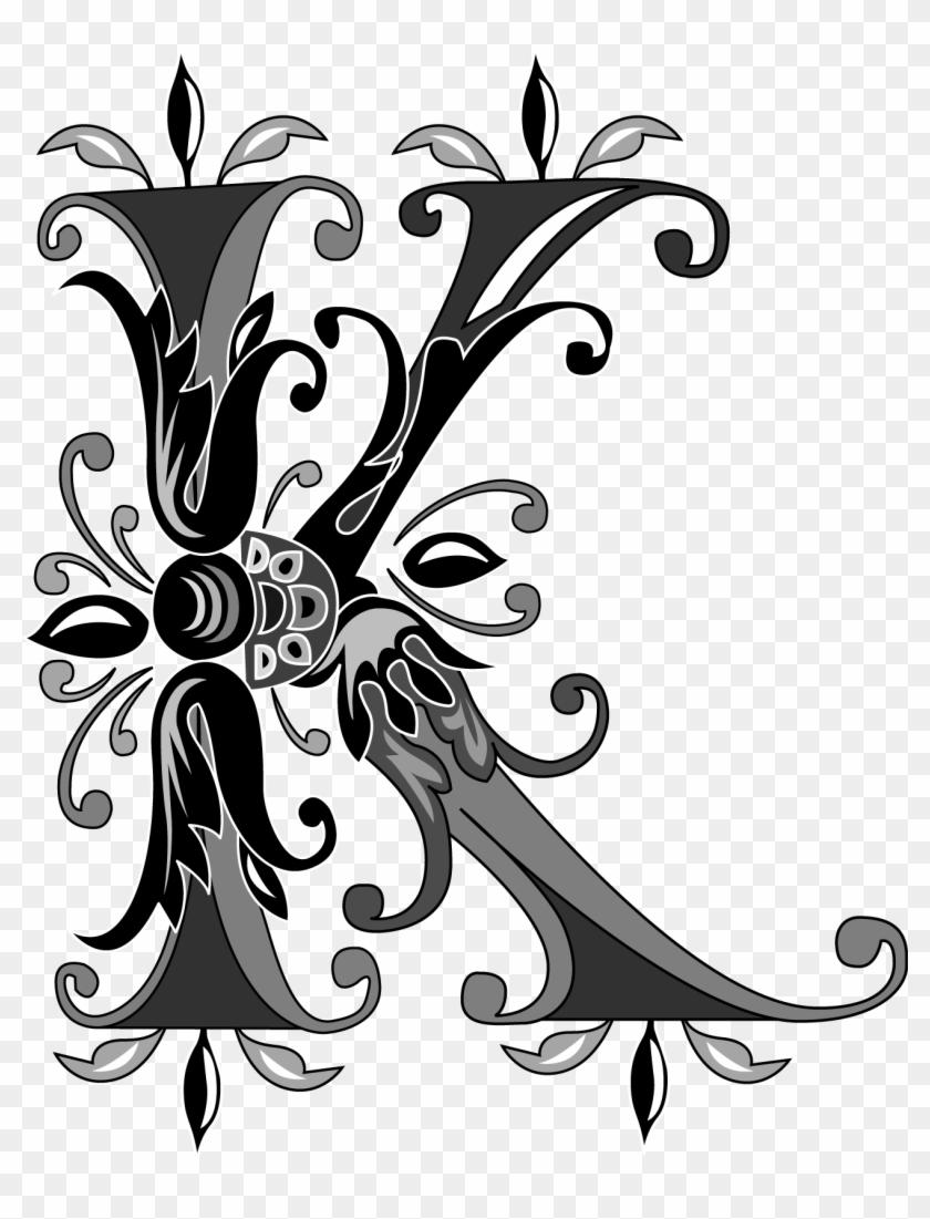 Foliage English Alphabet Letter K Black And White K Letter
