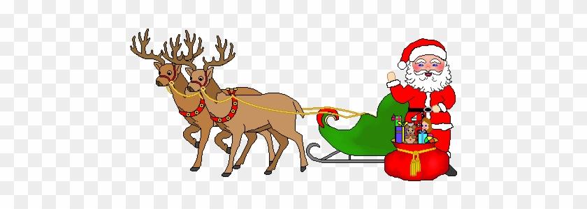 Christmas Sleigh Clipart - Animated Santa And Reindeer #1261891