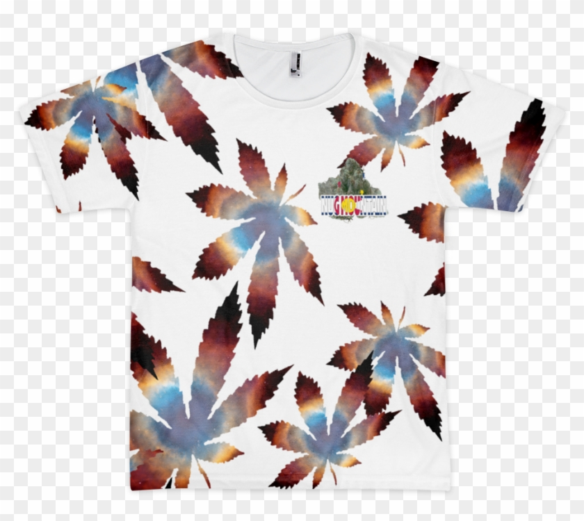Helix Nebula All Over Leaf Pattern T-shirt From Nug - Helix Nebula #1265226