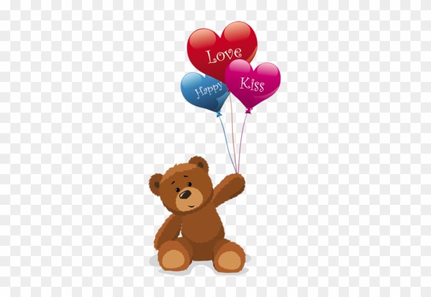 Teddy Bears With Valentine Hearts,teddy Bears With - Teddy Bear With Balloons #200691