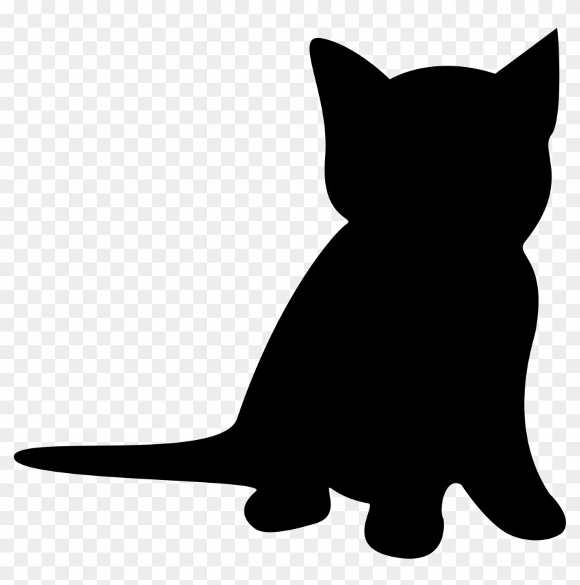 Kitten Clipart Silhouette - Kitten Silhouette Sitting #200962