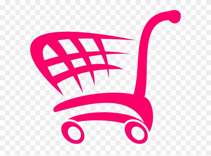 Pink Shopping Cart Clip Art At Clker - Shopping Cart Shower Curtain #201507