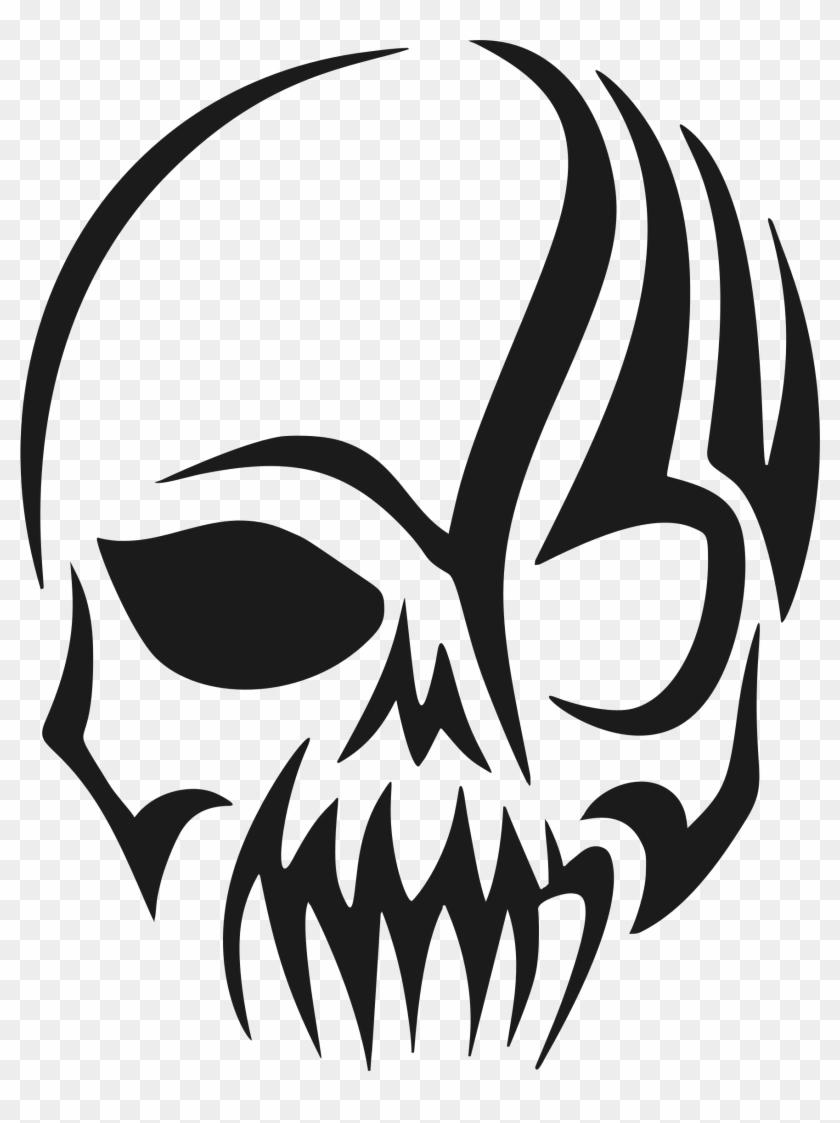 Tribal Skull Silhouette By @gdj, Tribal Skull Silhouette - Skull Tattoo Tribal #201685