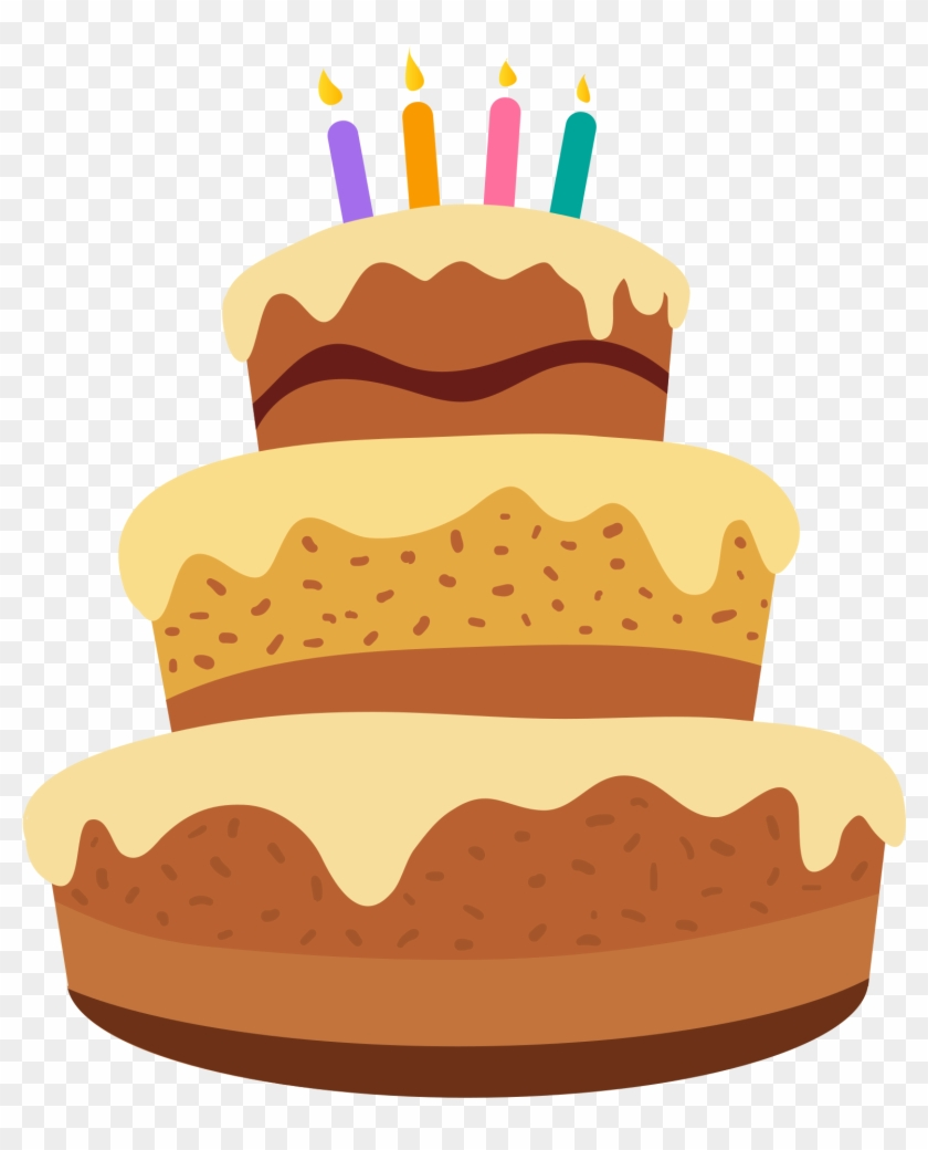 Three Tiered Birthday Cake With Candles Cartoon Clipart - Cake Happy Birthday Cartoon #202009