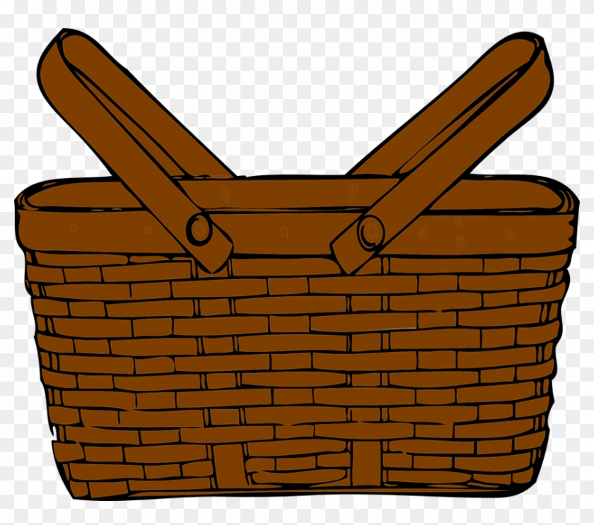 Basket Picnic Brown Handles Wicker Object - Picnic Basket Clip Art #202097