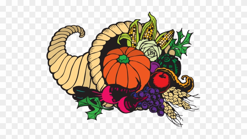 Cornucopia Clipart Health Food Pencil And In Color - Thanksgiving Clip Art #202495