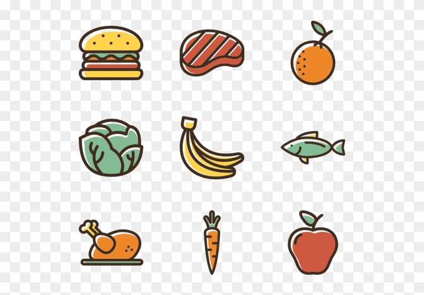 Linear Color Food Set - Healthy Food Icons #203305