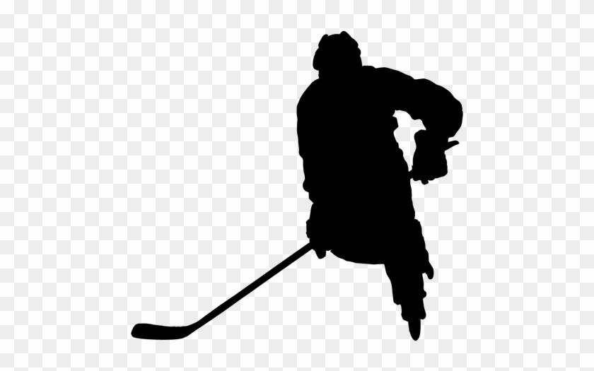 Hockey Player Stickhandling Silhouette - Hockey Sobre Hielo Pictograma #1272746