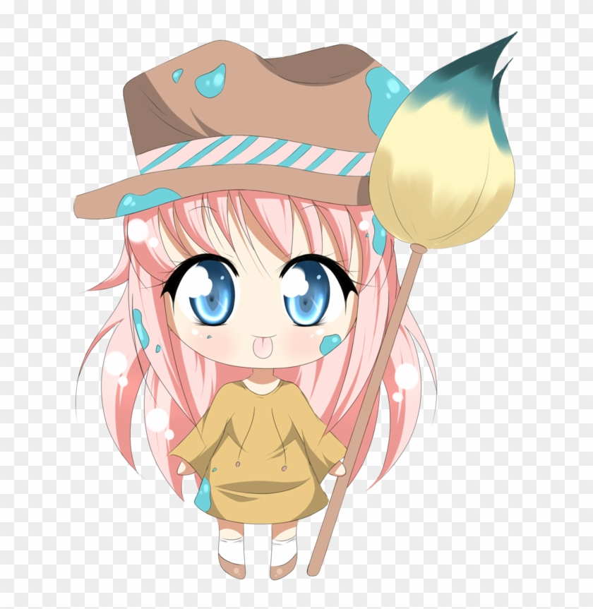 Painting Lily By Amai Kiss - Anime Chibi Painting Png - Free
