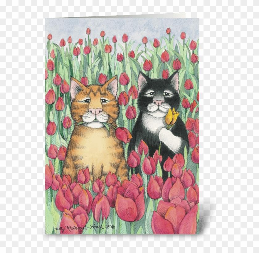 Tulip Cats Birthday - Tulip Cats Spring Party Invitation (bud & Tony) #1276616