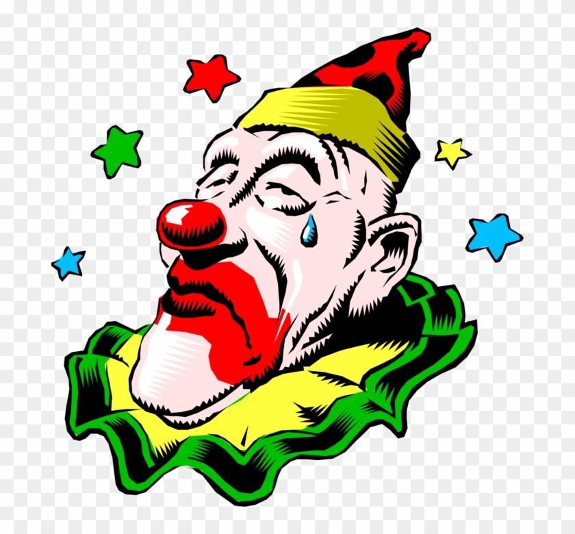 Vector Illustration Of Big Top Circus Clown With Sad - Circus Clowns #1278944