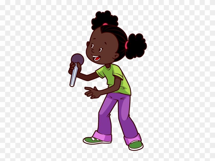 Micrófono Africana Americana De Dibujos Animados Clip - Cartoon African American Girl #1279208