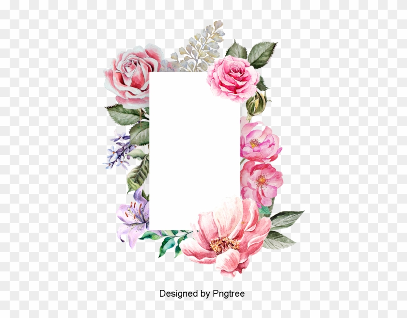 Beautiful Hand Paint Watercolor Floral Wreath Border, - Flower #1284206