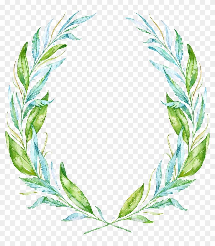 Leaf Watercolor Painting Wreath Drawing - Simple Greek Theme Wedding Invitation #1285030