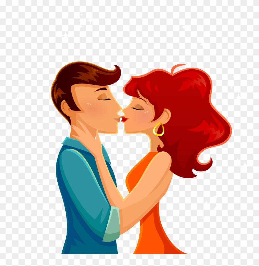Kiss Cartoon Romance Illustration Cartoon Couple Kiss Png Free Transparent Png Clipart Images Download